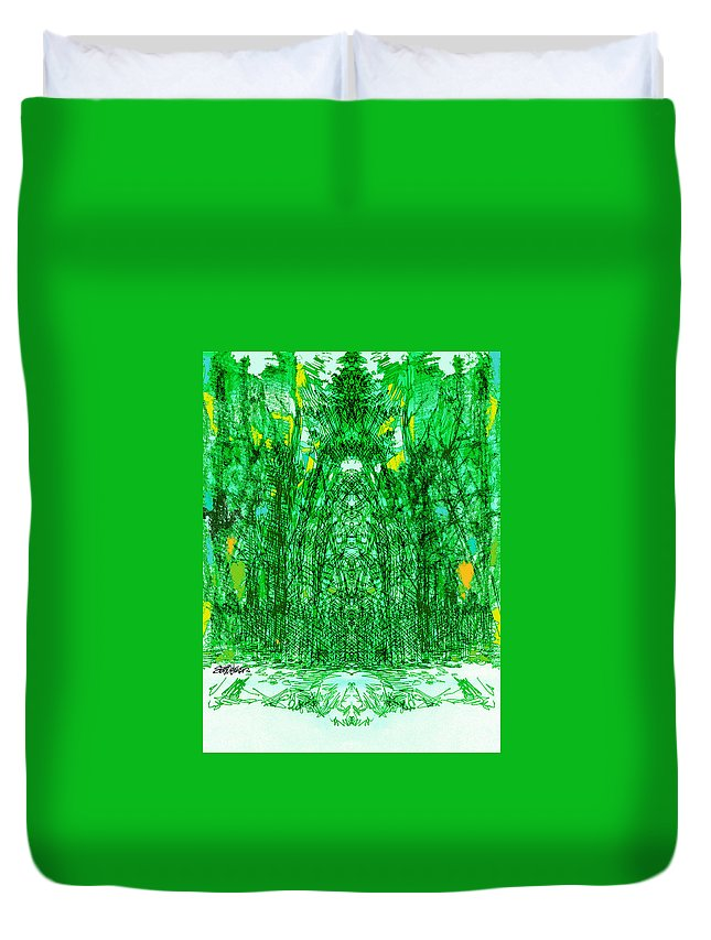 Cathedral Duvet Cover featuring the digital art Cathedral Of Trees by Seth Weaver