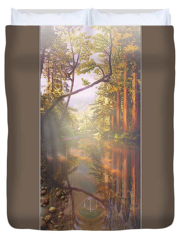 Cathedral Duvet Cover featuring the painting Cathedral Redwoods by Robby Donaghey