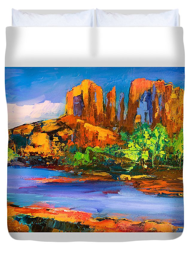 Sedona Duvet Cover featuring the painting Cathedral Rock Afternoon by Elise Palmigiani