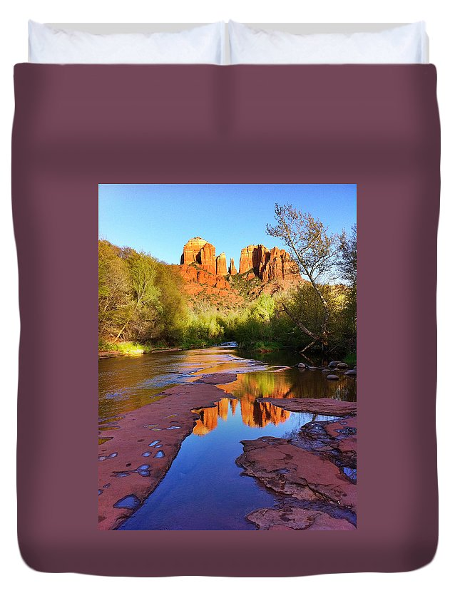 Iphoneography Duvet Cover featuring the photograph Cathedral Rock Sedona by Matt Suess