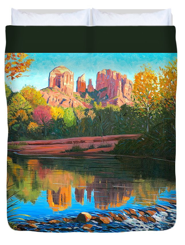 Oak Creek Duvet Cover featuring the painting Cathedral Rock - Sedona by Steve Simon