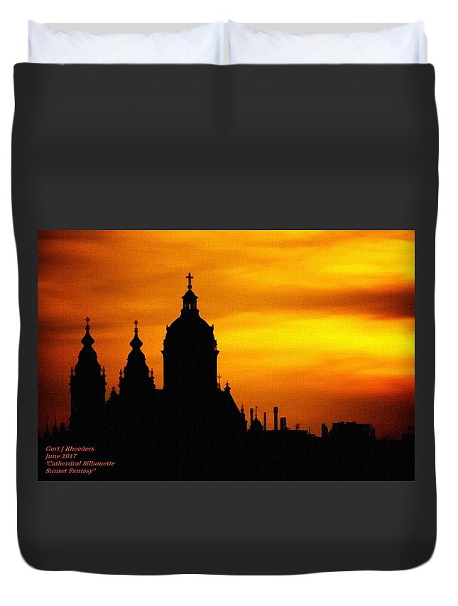 Cathedral.sunset Duvet Cover featuring the digital art Cathedral Silhouette Sunset Fantasy L A by Gert J Rheeders