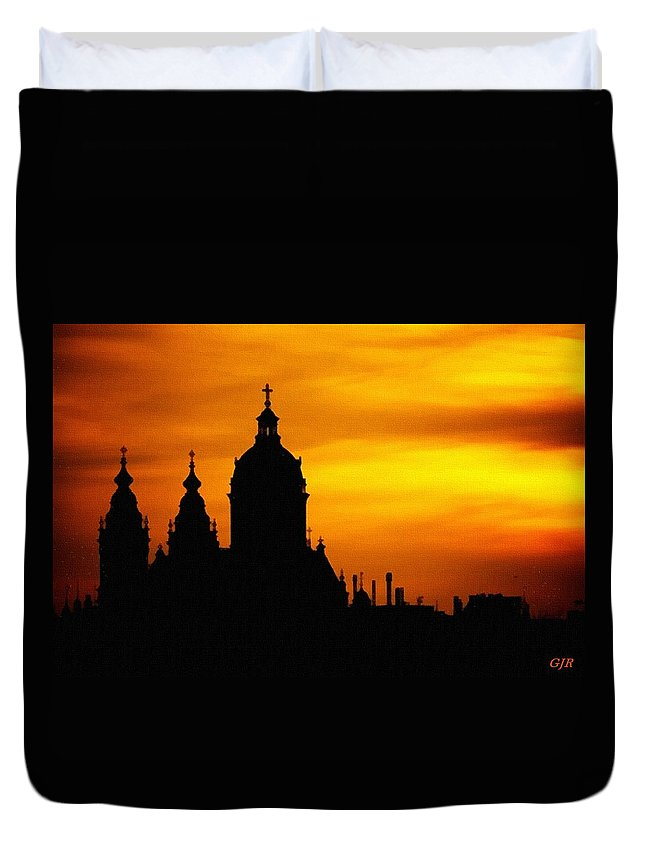 Cathedral.sunset Duvet Cover featuring the digital art Cathedral Silhouette Sunset Fantasy L B by Gert J Rheeders
