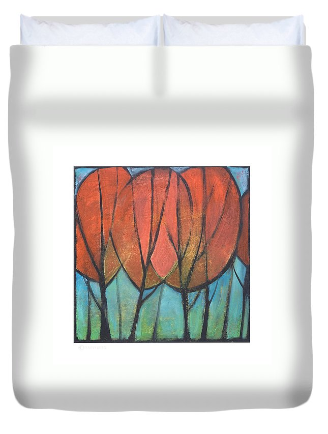 Trees Duvet Cover featuring the painting Cathedral by Tim Nyberg