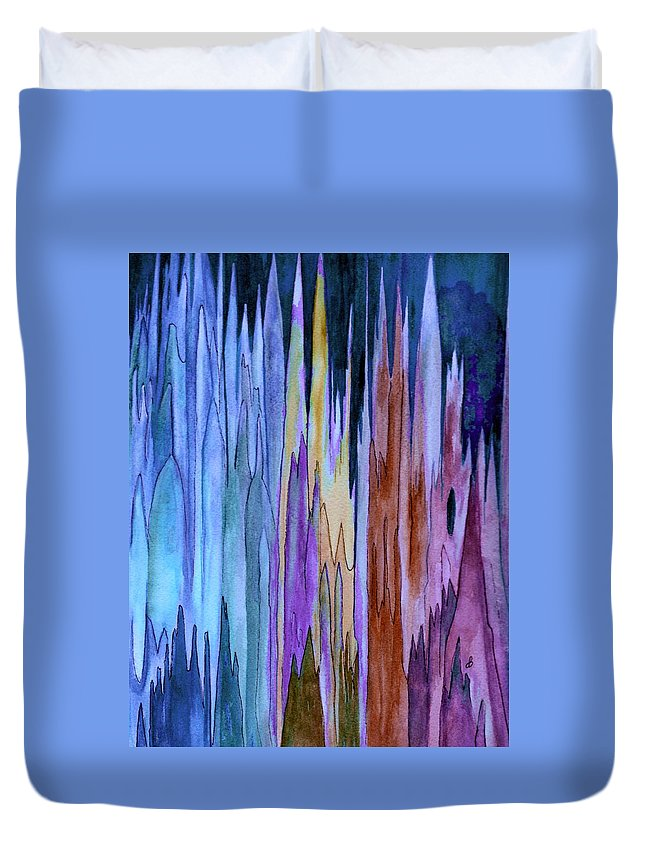 Watercolor Duvet Cover featuring the painting Cathedrals by Brenda Owen