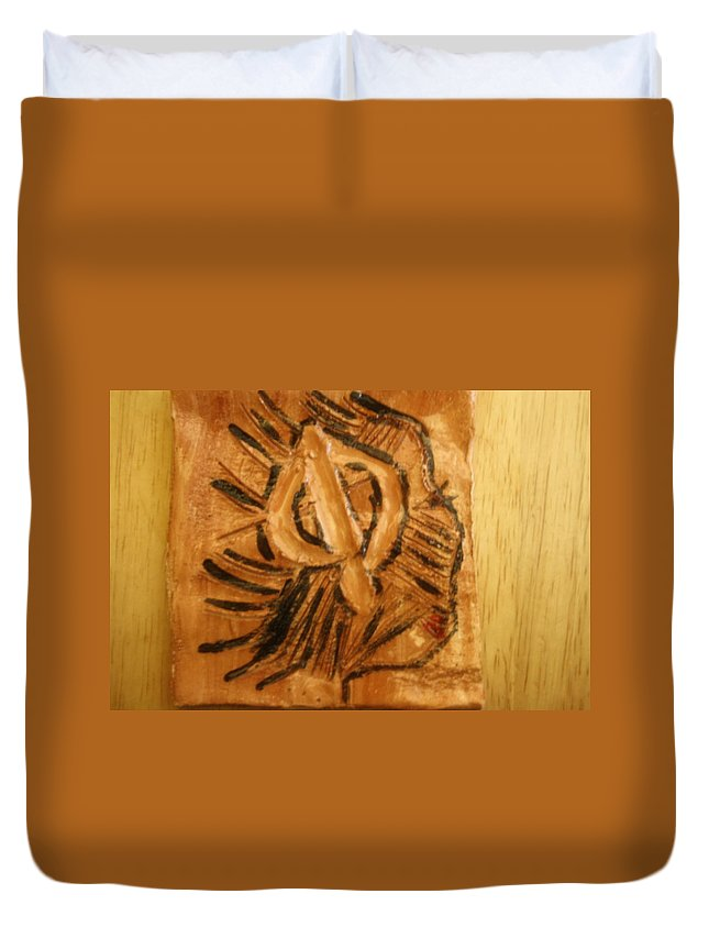 Jesus Duvet Cover featuring the ceramic art Catherine - Tile by Gloria Ssali
