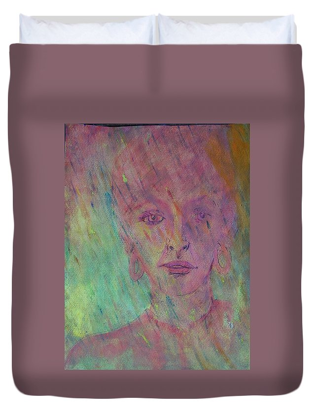 Abstract Duvet Cover featuring the painting Catherine In Summer Rain by Judith Redman