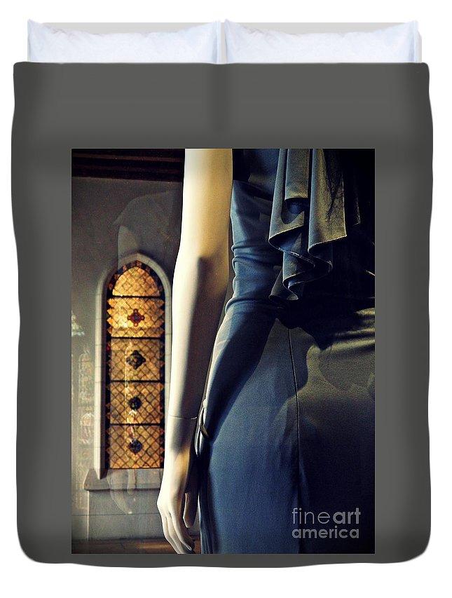 Mannequin Duvet Cover featuring the photograph Catholic Imagination Fashion Show 5  by Sarah Loft