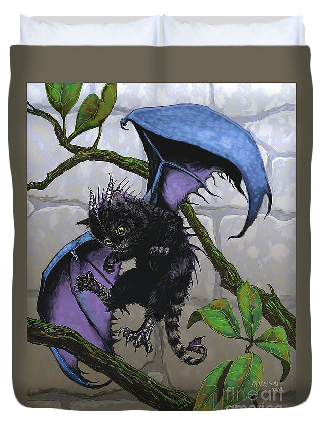 Fantasy Duvet Cover featuring the digital art Catragon by Stanley Morrison