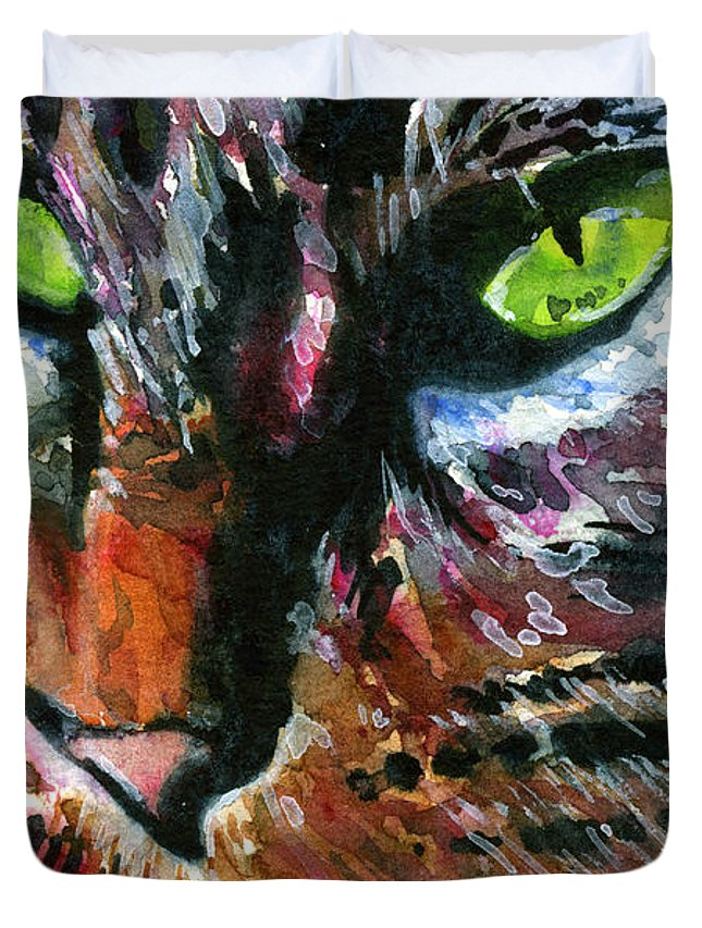 Cats Duvet Cover featuring the painting Cats Eyes 11 by John D Benson