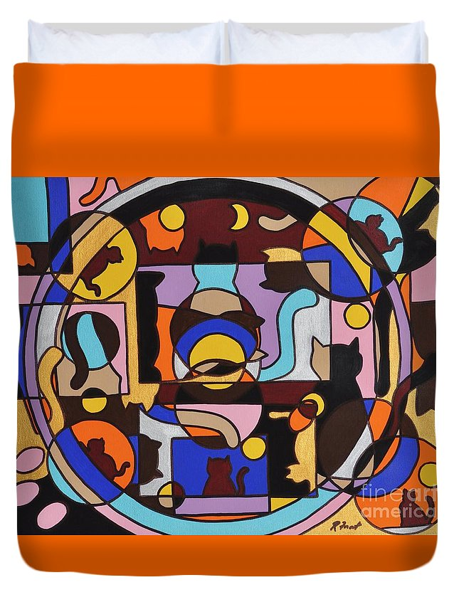 Cats Geometric Colorful Abstract Duvet Cover featuring the painting Cats In Focus by Reb Frost