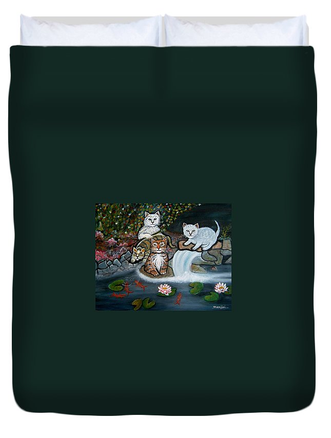 Acrylic Art Landscape Cats Animals Figurative Waterfall Fish Trees Duvet Cover featuring the painting Cats In The Wild by Manjiri Kanvinde
