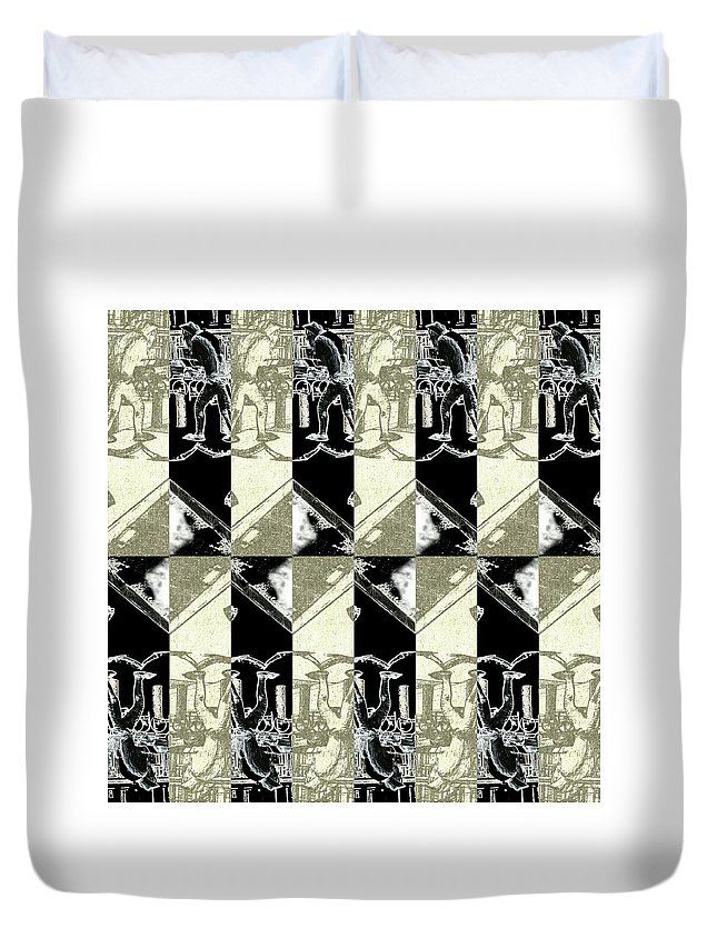 Cats Duvet Cover featuring the digital art Cats Negative by YOR - Your Own Reality