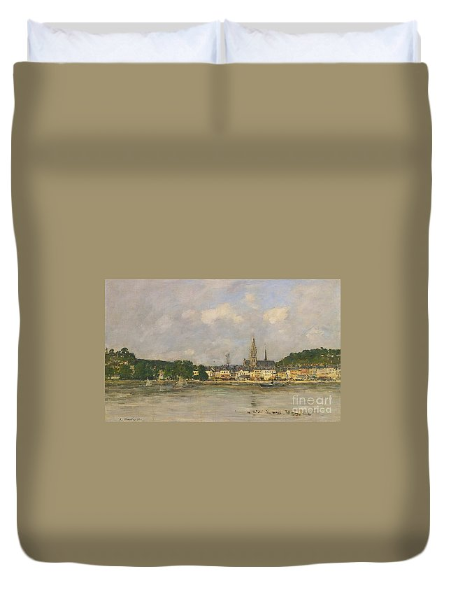 Eug�ne Boudin 1824-1898 Caudebec-en-caux The Dock Of The Seine Duvet Cover featuring the painting Caudebec-en-caux The Dock Of The Seine by MotionAge Designs