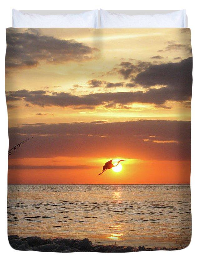 Sarasota Duvet Cover featuring the photograph Caught At Sunset by Dick Goodman
