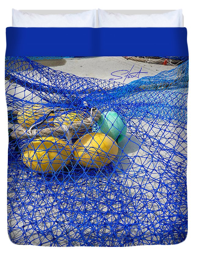 Fishing Net Duvet Cover featuring the photograph Caught by Charles Stuart
