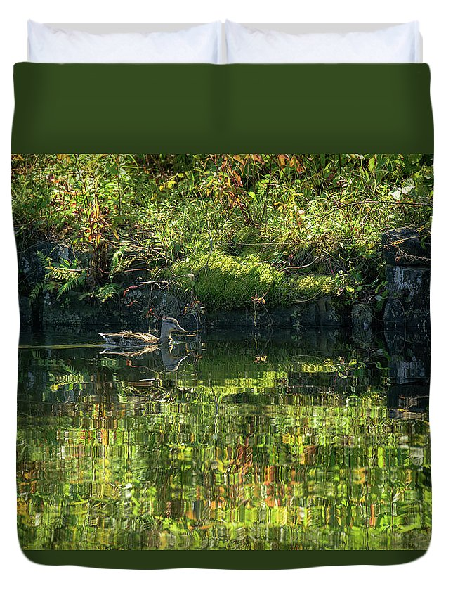 Duck Duvet Cover featuring the photograph Caught In The Reflection by Sherman Perry