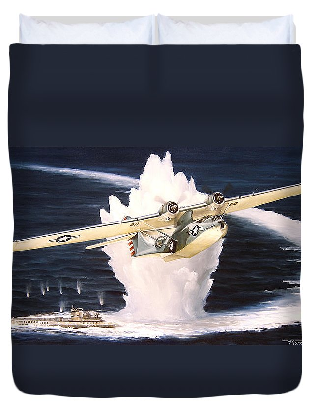 Military Duvet Cover featuring the painting Caught On The Surface by Marc Stewart