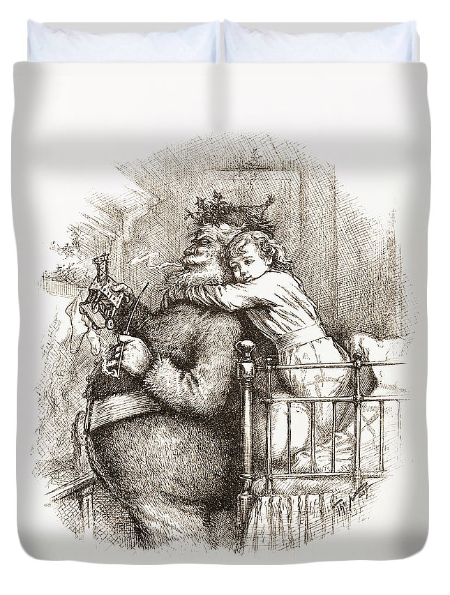 Vintage; Illustration; Two People; Man; Male; Child; Hugging; Christmas Eve; Discovery; Bed; Victorian; Innocence; Cute; Surprise; Engraving Duvet Cover featuring the drawing Caught by Thomas Nast