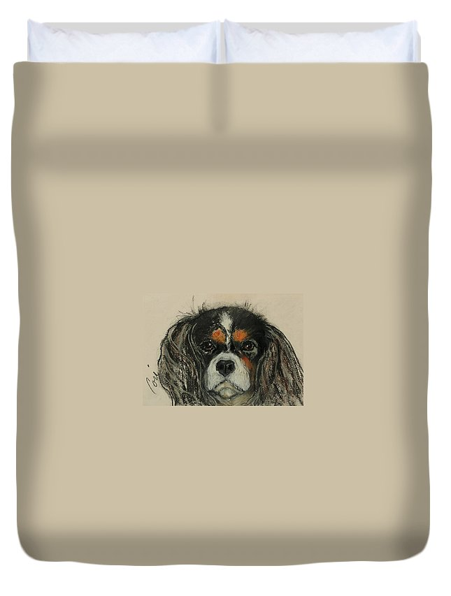 Cavalier Duvet Cover featuring the drawing Cavalier by Cori Solomon