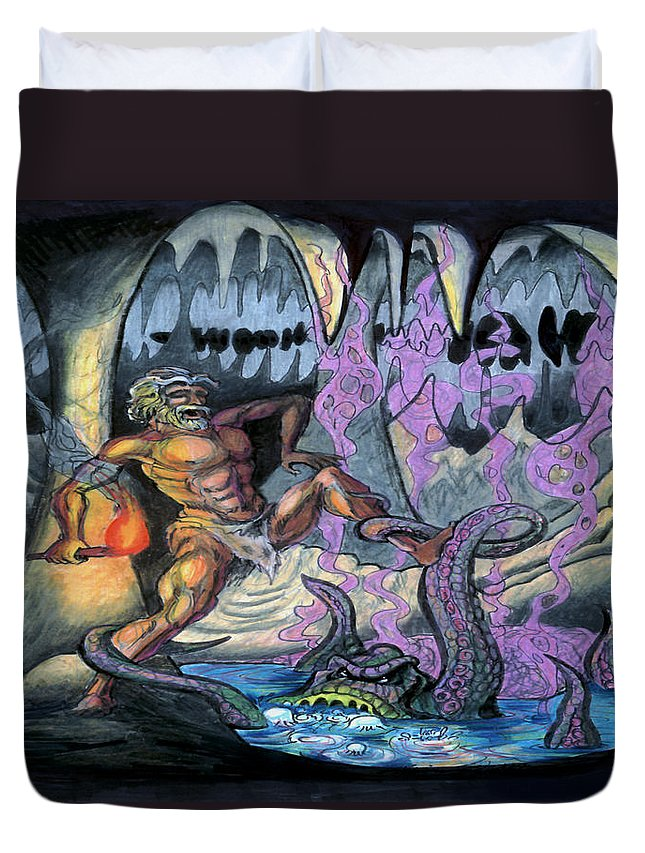 Cave Duvet Cover featuring the painting Cave Creature by Kevin Middleton