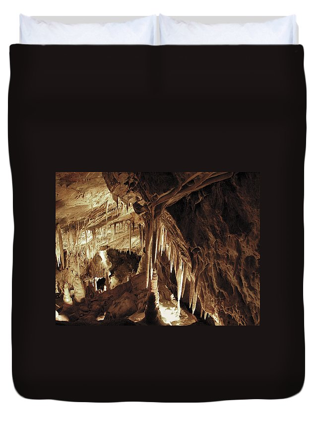 Cave Duvet Cover featuring the photograph Cave Interior by Marilyn Hunt