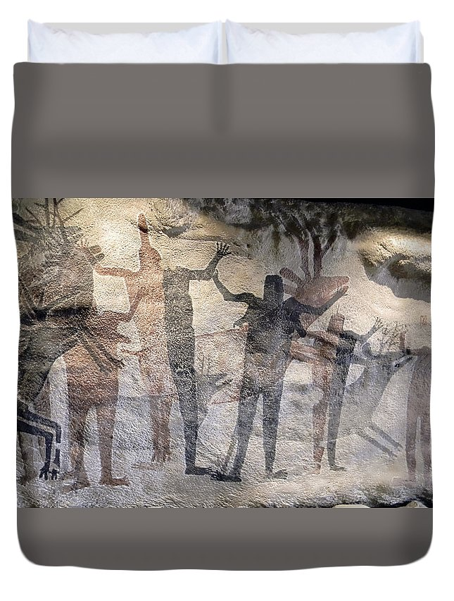 cave Paintings Duvet Cover featuring the photograph Cave Painting Of Prehistoric Man by Daniel Hagerman