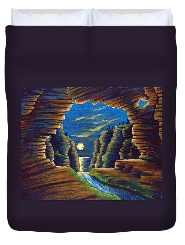 Cave Duvet Cover featuring the painting Cave with Cliffs by Jennifer McDuffie