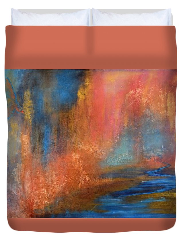 Original Acrylic Painting On Canvas Duvet Cover featuring the painting Cavern by Adrianna Tarsha - McMillan