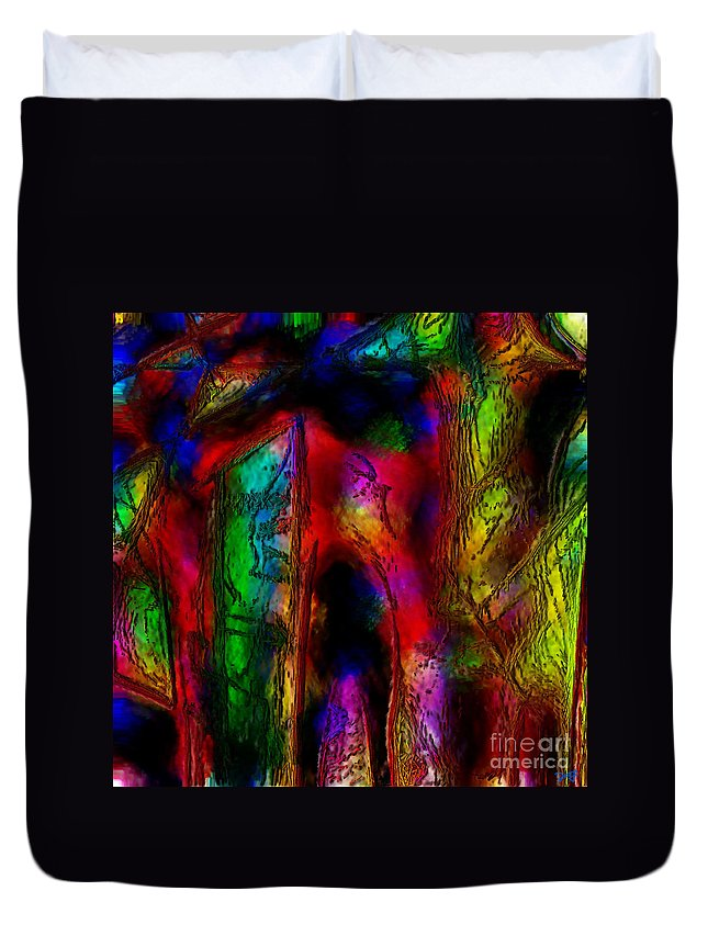 Abstract Duvet Cover featuring the painting Caverns Of The Mind by Dee Flouton