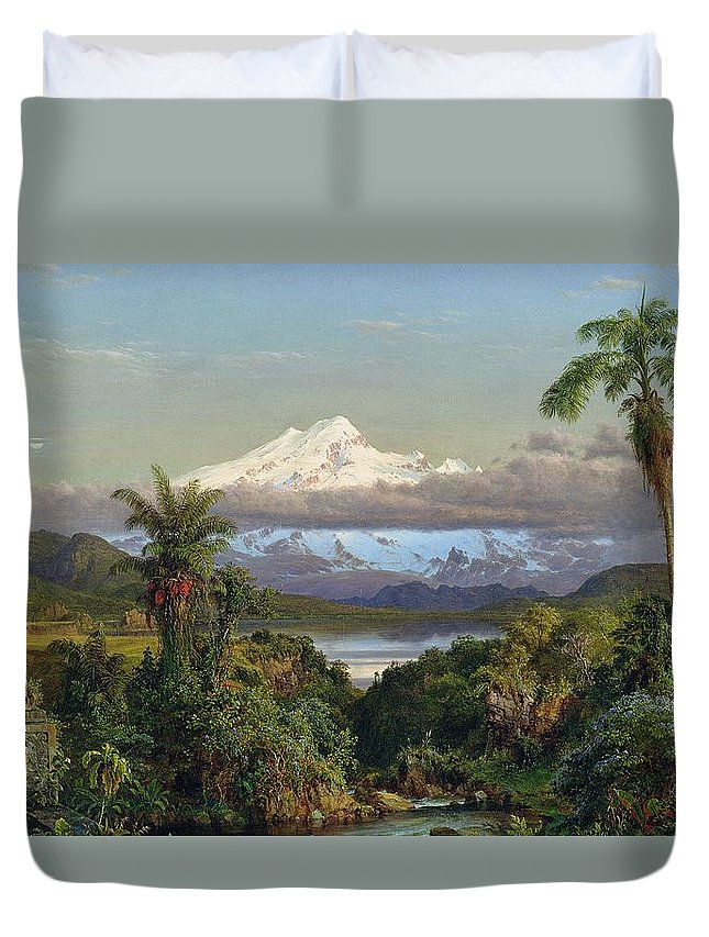 Snow; Mountain; Mountainous; Andes; Valley; Palm Tree; Landscape; Ecuador; Hudson River School; Duvet Cover featuring the painting Cayambe by Frederic Edwin Church