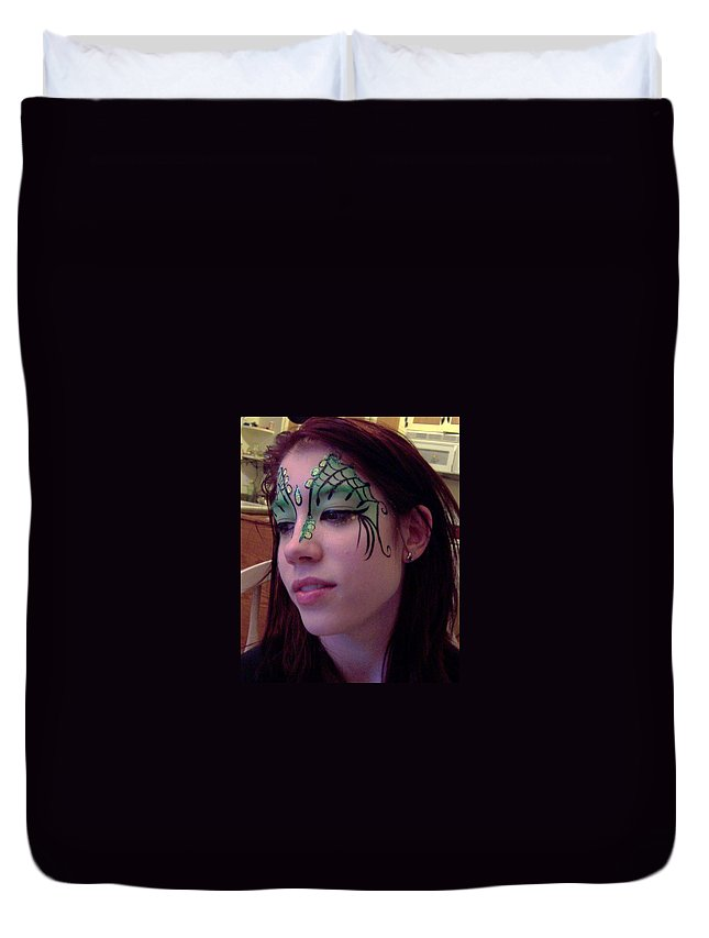 Face Paint Duvet Cover featuring the painting Cayce Dragon Princess by Deahn   Benware