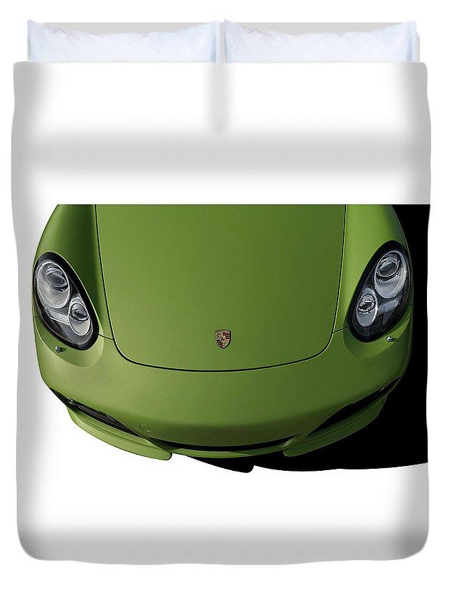 Porsche Duvet Cover featuring the digital art Porsche Cayman R by Douglas Pittman