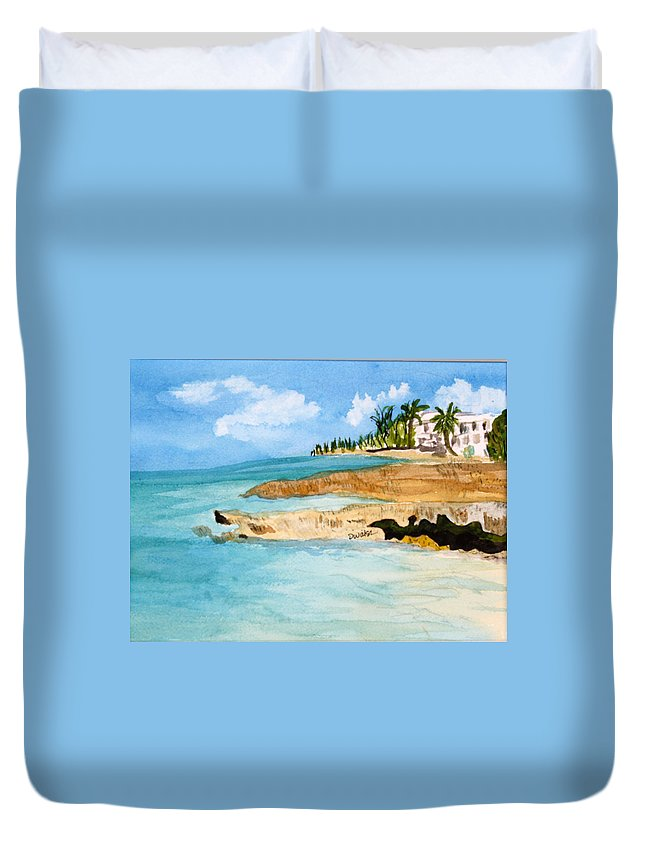 Shore Cayman Duvet Cover featuring the painting Cayman Shoreline by Donna Walsh
