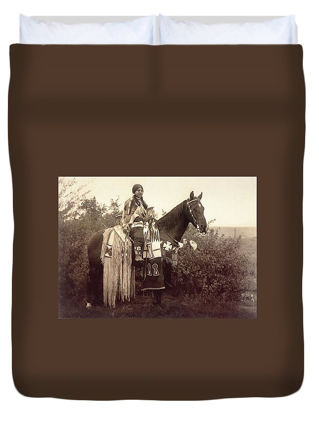 Cayuse Duvet Cover featuring the digital art Cayuse by Edward Curtis