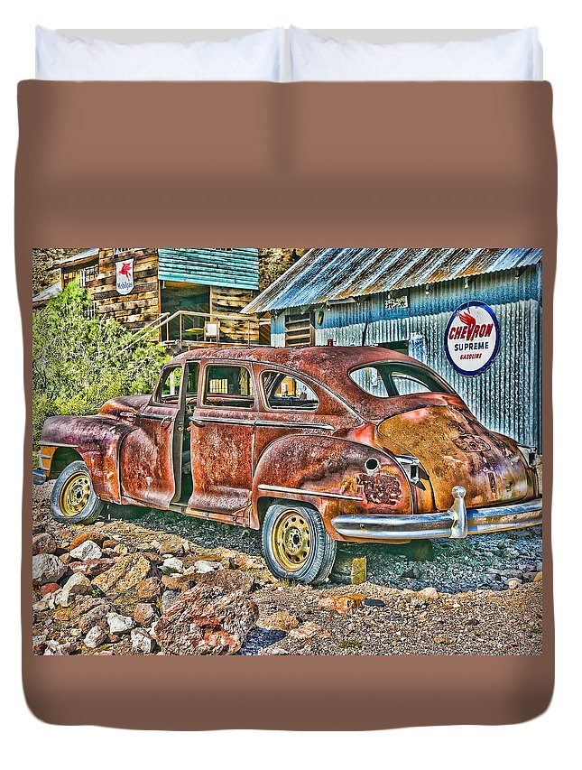 Dodge Duvet Cover featuring the photograph Old Timer 2 by Ron Metz