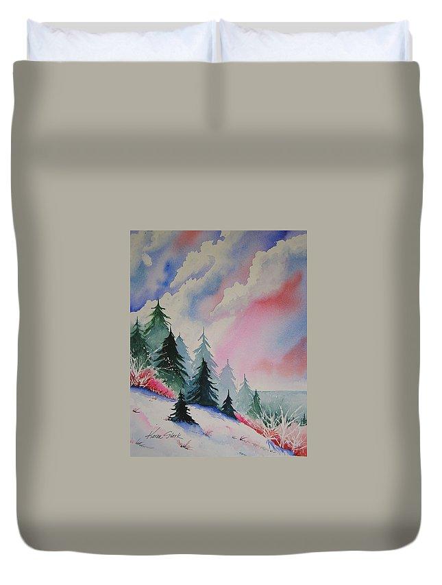 Snow Duvet Cover featuring the painting Cedar Fork Snow by Karen Stark