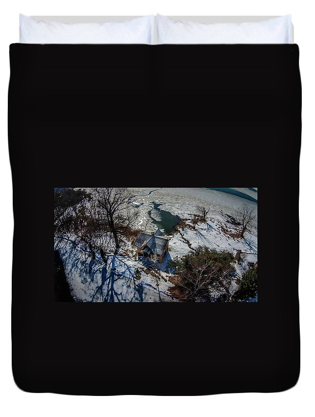 Aerial Duvet Cover featuring the photograph Cedarmere - The Studio by David Halperin