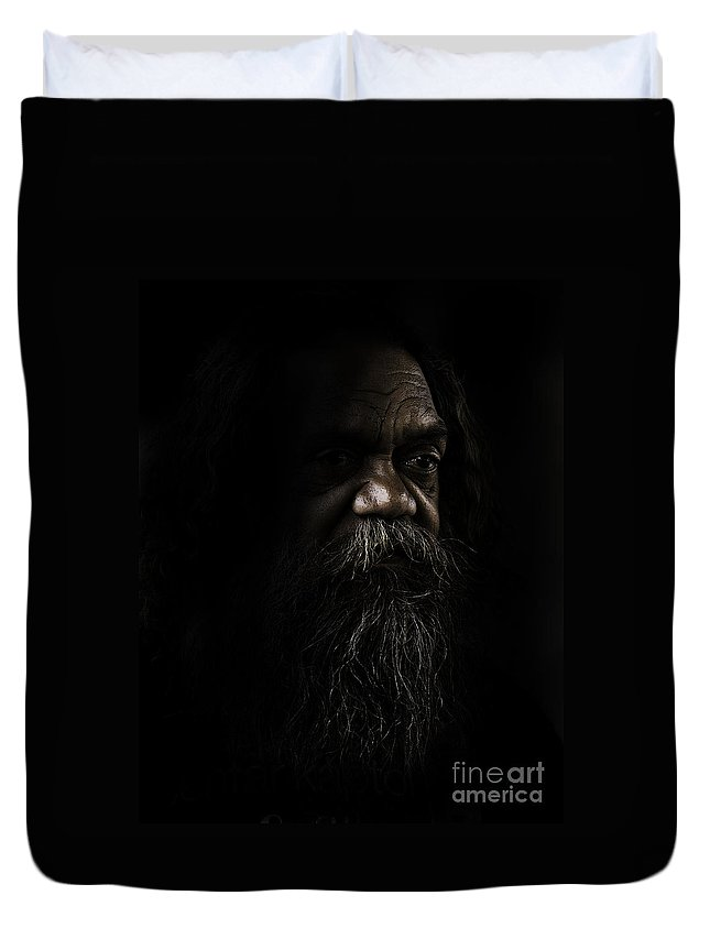 Fullblood Aborigine Duvet Cover featuring the photograph Cedric In Shadows by Avalon Fine Art Photography