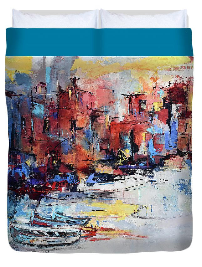 Cefalu Duvet Cover featuring the painting Cefalu Seaside by Elise Palmigiani