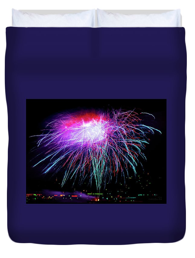 Fireworks Duvet Cover featuring the photograph Celebrate by Brian Tada