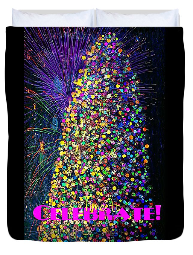 Christmas Lights Duvet Cover featuring the painting Celebrate In Lights by Pamela Smale Williams