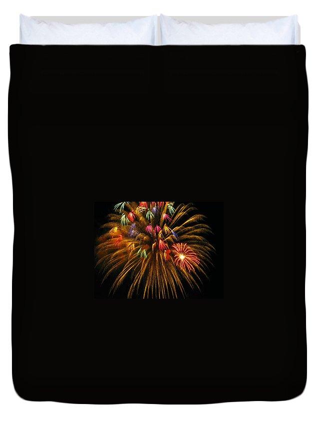 Fireworks Duvet Cover featuring the photograph Celebrate by Rhonda Barrett
