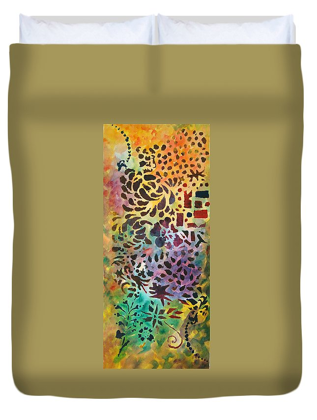 Abstract Duvet Cover featuring the mixed media Celebration Day - 1/2 Diptych by Karen Coggeshall