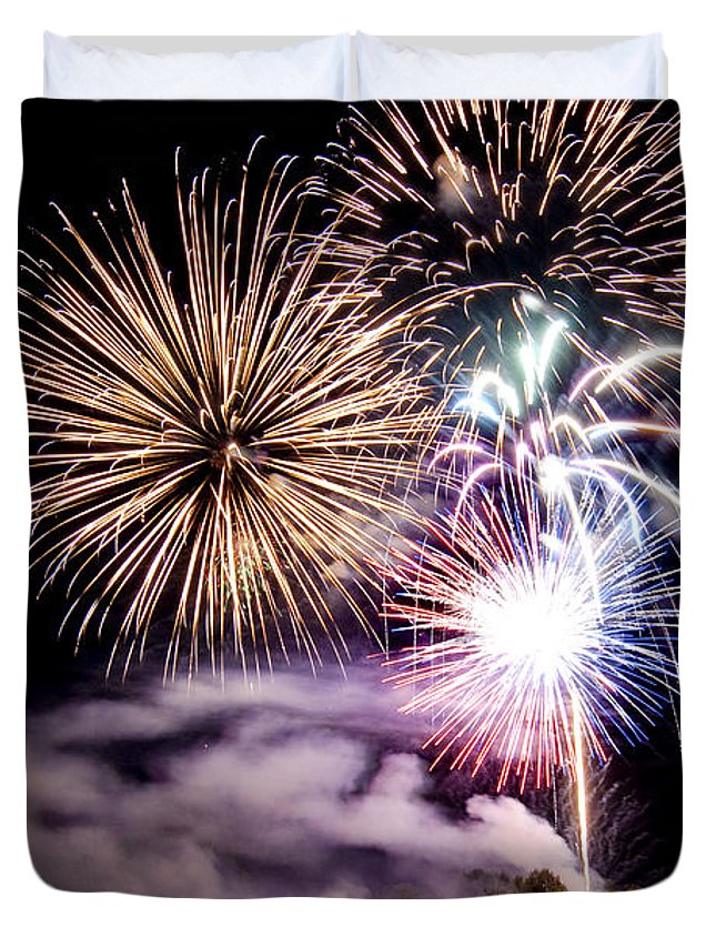 Fireworks Duvet Cover featuring the photograph Celebration by Greg Fortier