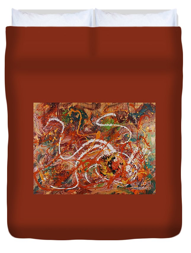 Orange Duvet Cover featuring the painting Celebration II by Nadine Rippelmeyer