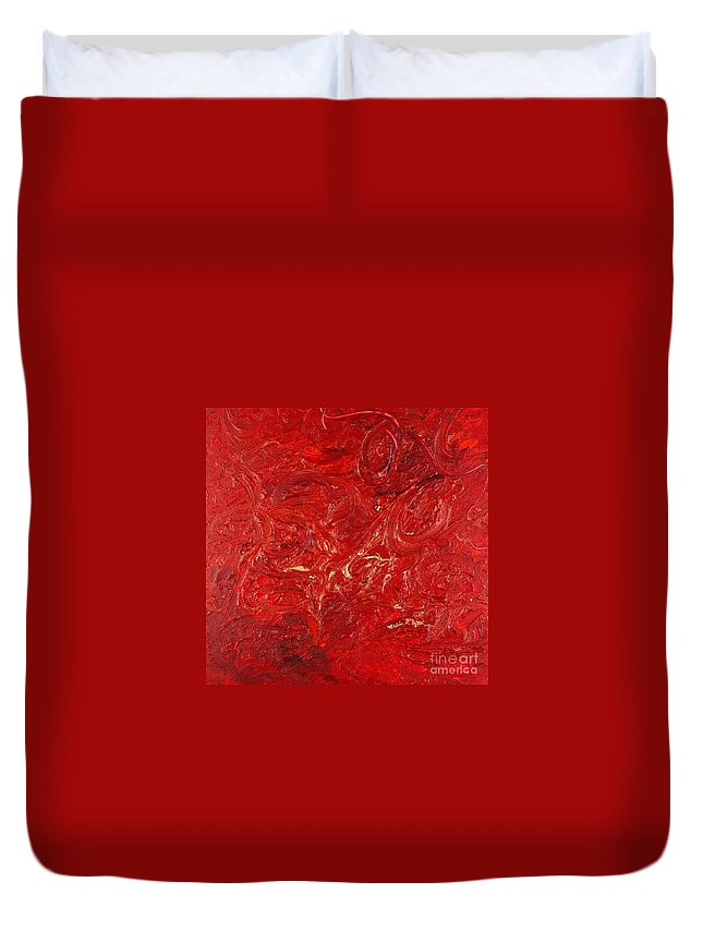 Red Duvet Cover featuring the painting Celebration by Nadine Rippelmeyer