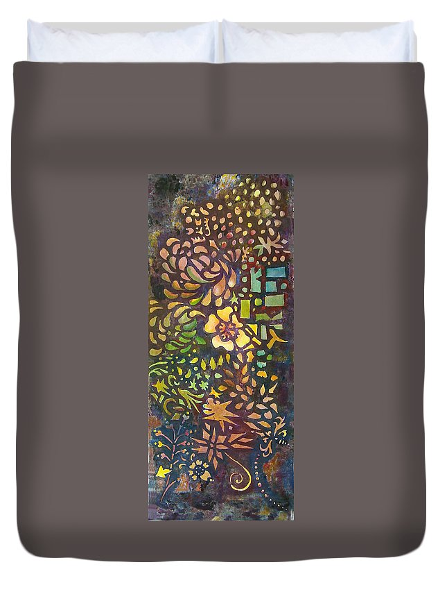 Abstract Duvet Cover featuring the mixed media Celebration Night - 1/2 Diptych by Karen Coggeshall
