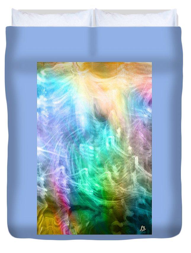 Digital Art Duvet Cover featuring the digital art Celestial Light by Linda Sannuti