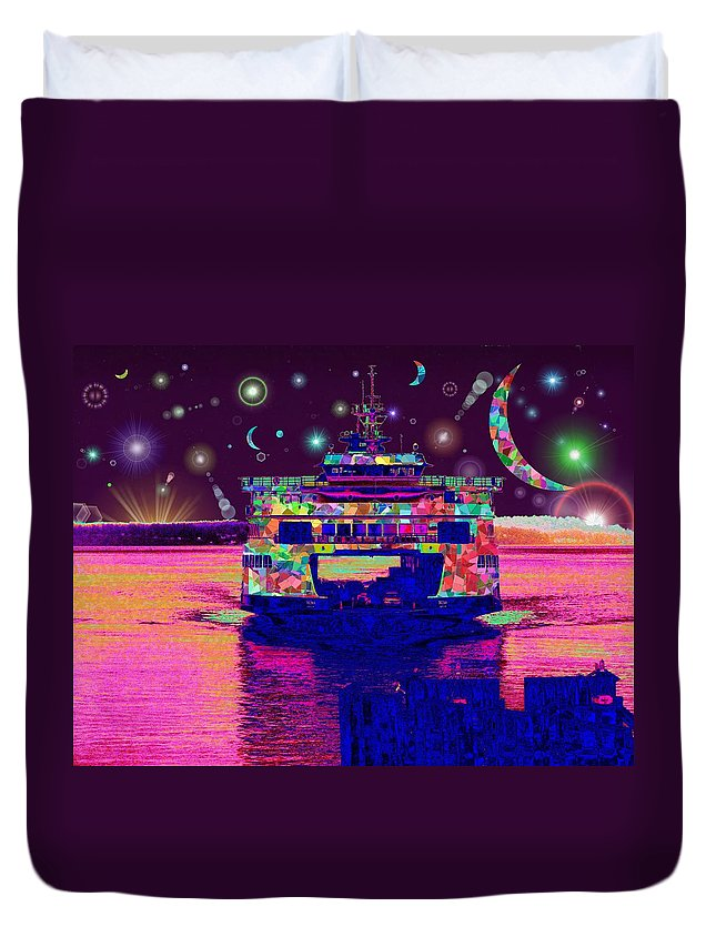 Celestial Duvet Cover featuring the digital art Celestial Sailing by Tim Allen